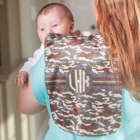 Camo Initial Minky Burp Cloth