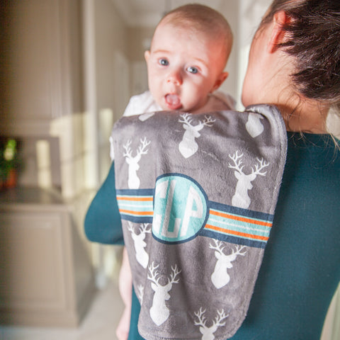 Gray Deer Initial Minky Burp Cloth
