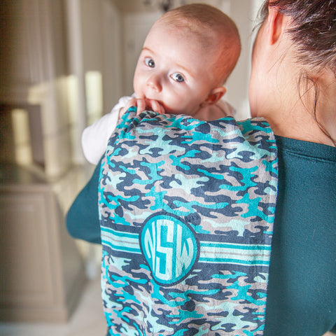 Blue Camo Initial Minky Burp Cloth