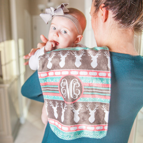 Aztec Deer Initial Minky Burp Cloth
