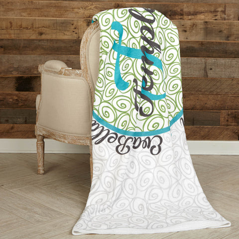 Gray Teal Green Family Circle Initial Name Throw Blanket