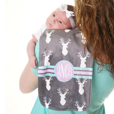 Deer Initial Minky Burp Cloth