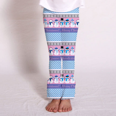 Girls Snowman Fun Name Ruffle Leggings