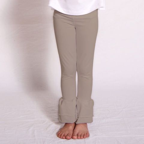 Girls Taupe Ruffle Leggings