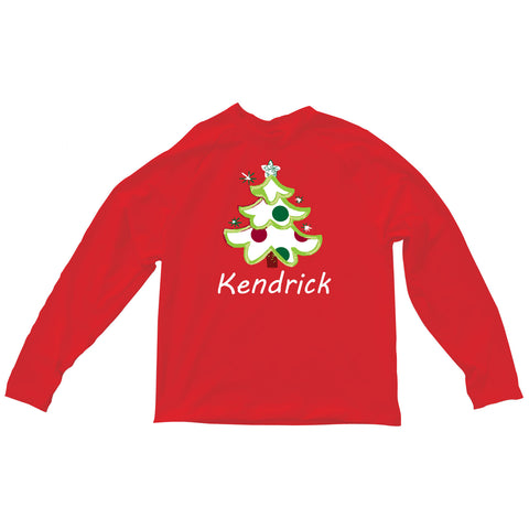 Boys Red Christmas Tree Name Aiden Top