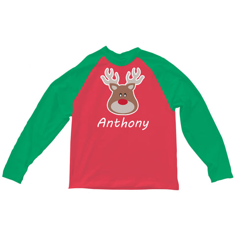 Boys Red Green Reindeer Name Aiden Top