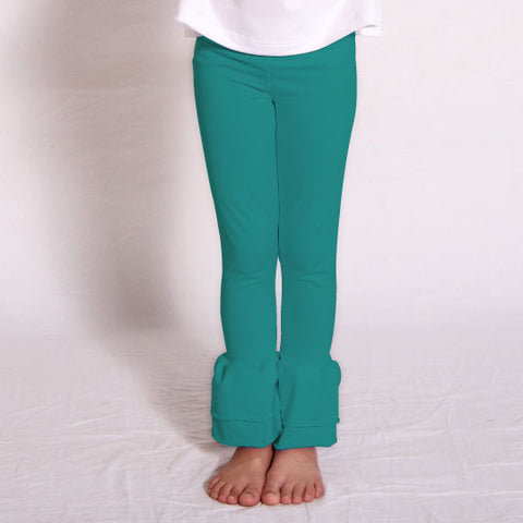 Girls Teal Ruffle Leggings