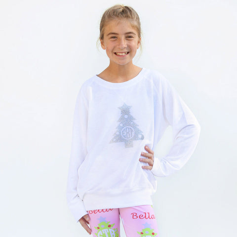 Christmas Tree White Lightweight Pullover