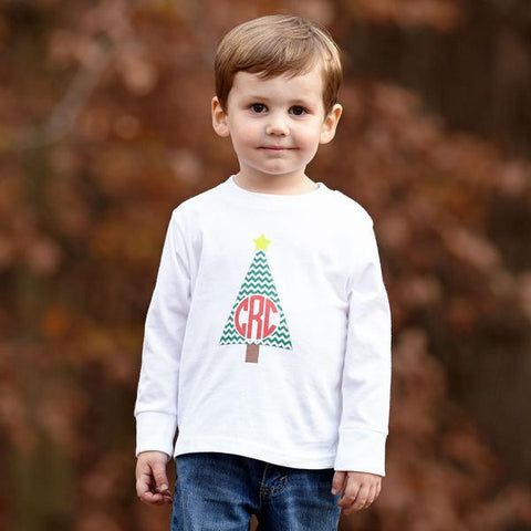 Chevron Christmas Tree Initial Tee