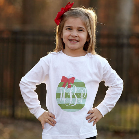 Green Stripe Christmas Ball Initials Tee