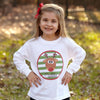 Green Stripe Reindeer Name Circle Shirt