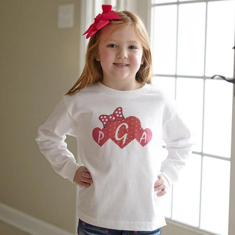 Red & Pink Hearts Initials Tee