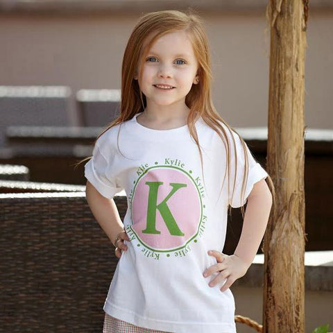Pink Green Initial Name Tee