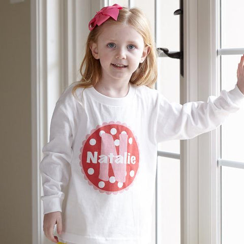 Red Pink Dot Initial Name Tee