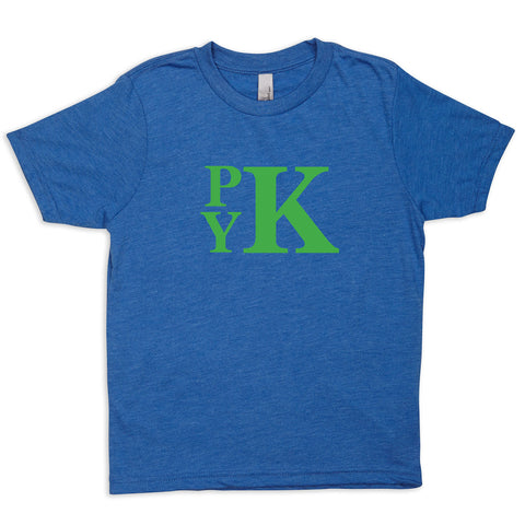 Heather Royal Blue with Green Initials Tee