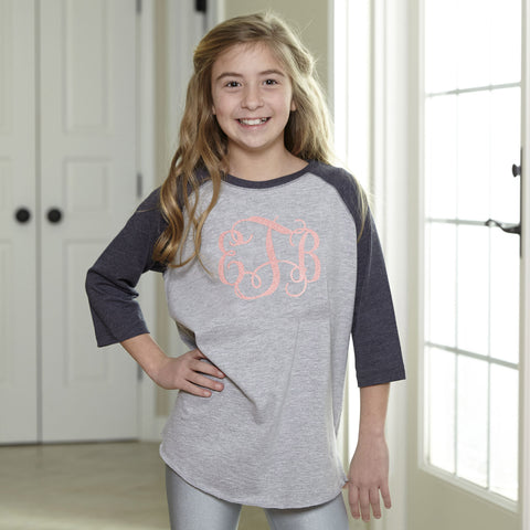 Baseball Tee with Coral Sparkle Initials