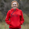 Ladies Red Hooded Sweatshirt with Sparkle Initials