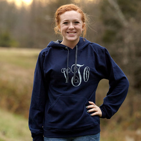 Ladies Navy Hooded Sweatshirt with Gray Initials