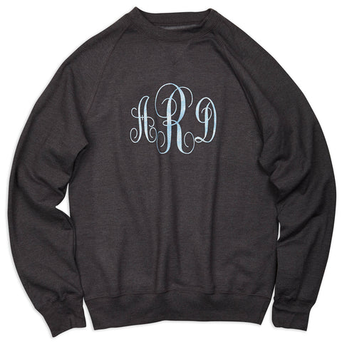 Ladies Charcoal Sweatshirt with Blue Sparkle Initials