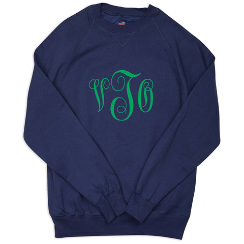 Ladies Navy Sweatshirt with Green Initials