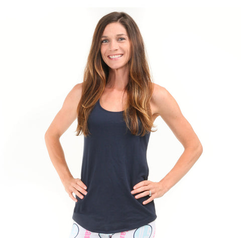 Ladies Navy Racerback Tank