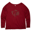 Merlot Scoop Neck Tee with Bronze Initials