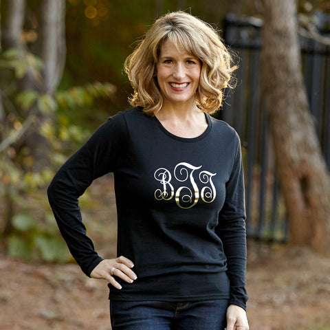 Ladies Black with Gold Initials Tee