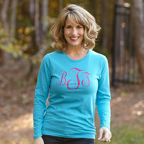 Turquoise with Hot Pink Initials Tee