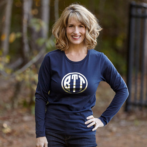 Navy Gold Metallic Initials Tee