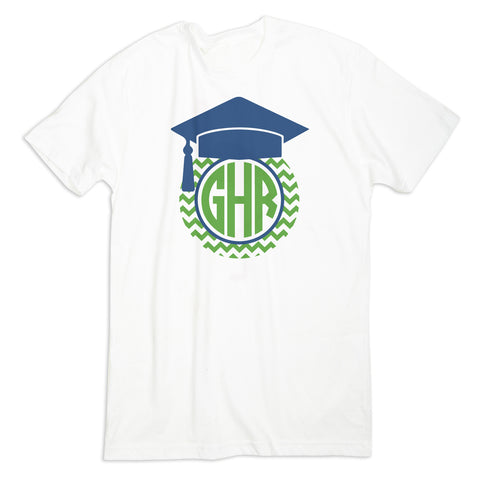 Boys Green Chevron Graduation Hat Initial Tee