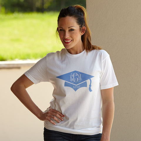 Light Blue Graduation Cap Initial Tee