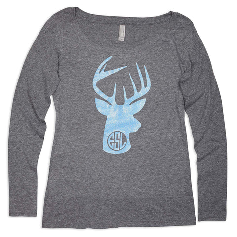 Scoop Neck Tee with Blue Sparkle Deer Initials