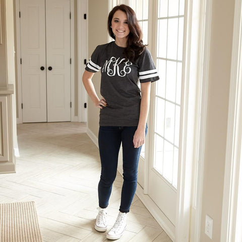 Smoke Black Football Initials Tee