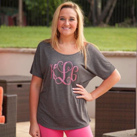 Gray Initials Slouchy Tee