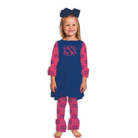 Navy Hot Pink Initials Ruffle Legging Set