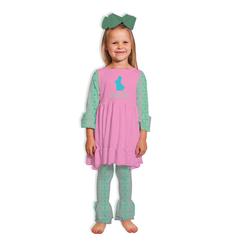 Mint Bunny Name Ruffle Legging Set