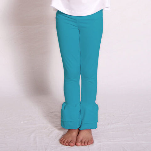 Girls Turquoise Ruffle Leggings