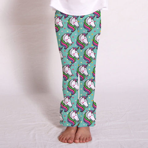 Girls Unicorn Heart Ruffle Leggings