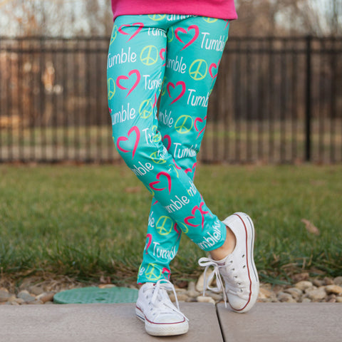 Girls Custom Peace Love Arden Leggings