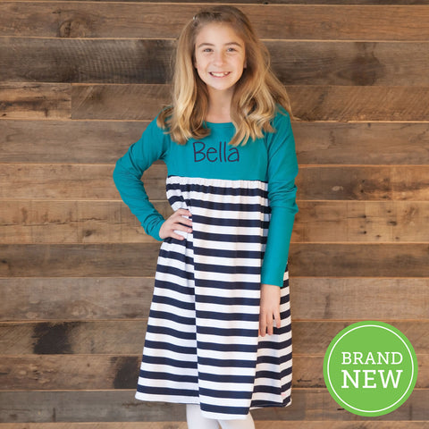 Jade Navy Stripe Empire Dress