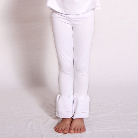 Girls White Ruffle Leggings