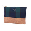 Navy Green Plaid Zip Pouch