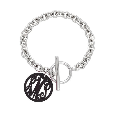 Silver Scallop Acrylic Initials Bracelet