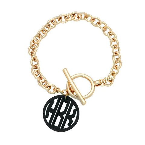 Gold Scallop Acrylic Initials Bracelet