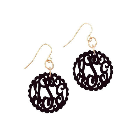 Gold Scallop Acrylic Initials French Wire Earrings