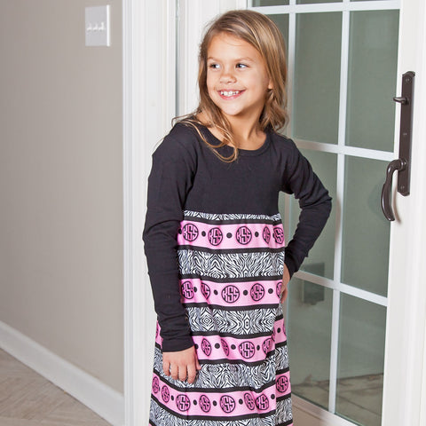 Zebra Initials Violet Dress