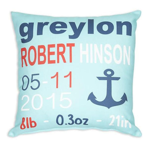 Aqua Navy Name Date Weight Anchor Throw Pillow Cover
