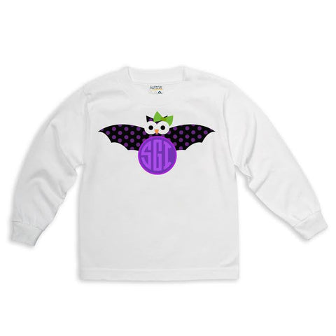Bat with Lime Bow Initials Tee