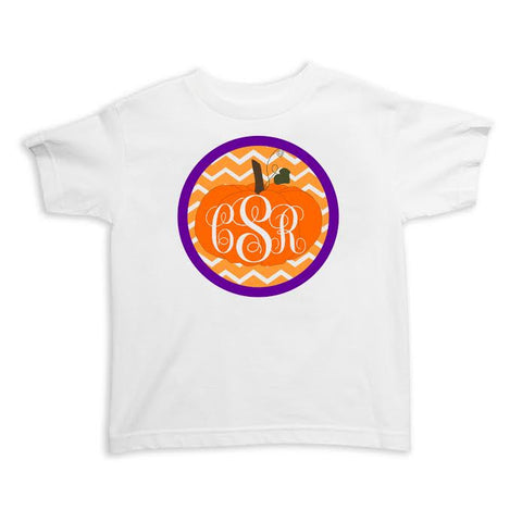 Pumpkin Circle Chevron Initials Tee