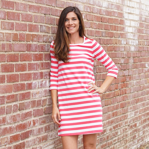 Coral Stripe Shift Dress